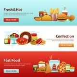 Insieme dell'insegna degli alimenti a rapida preparazione Fotografie Stock