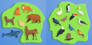 Insieme dell'insegna degli animali, stile del fumetto royalty illustrazione gratis