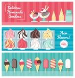 Insieme dell'insegna del gelato Fotografia Stock Libera da Diritti