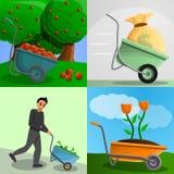 Insieme dell'insegna della carriola del giardino, stile del fumetto illustrazione di stock