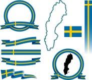 Insieme dell'insegna della Svezia Fotografia Stock Libera da Diritti