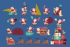 Insieme dell'insegna di concetto di vacanze invernali della raccolta del buon anno e di Santa Claus With Presents Merry Christmas Fotografia Stock