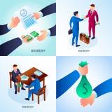Insieme dell'insegna di corruzione, stile isometrico illustrazione di stock