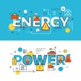 Insieme dell'insegna di fonti di energia Immagine Stock