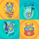 Insieme dell'insegna di giorno di musica, stile disegnato a mano illustrazione vettoriale
