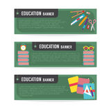 Insieme dell'insegna di istruzione Fotografie Stock Libere da Diritti
