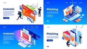 Insieme dell'insegna di Phishing, stile isometrico illustrazione vettoriale
