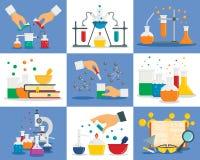 Insieme dell'insegna di reazione di chimica, stile piano illustrazione di stock