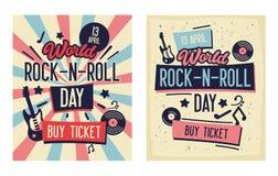 Insieme dell'insegna di tipografia di festival di rock-and-roll Live Music con elettrico e Bass Guitar Ideale per la promozione s royalty illustrazione gratis