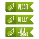 Insieme dell'insegna di Vegetarisch del und dell'etichetta del vegano Fotografia Stock