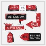Insieme dell'insegna di vendita Etichette di vendita Fotografia Stock