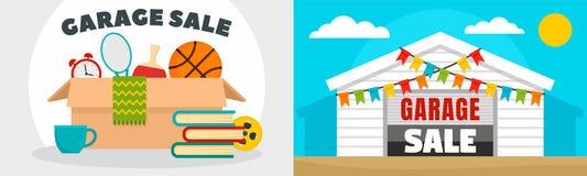Insieme dell'insegna di vendita di garage, stile piano royalty illustrazione gratis