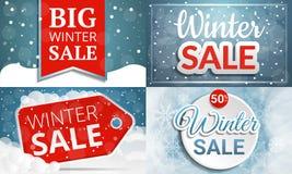 Insieme dell'insegna di vendita di inverno, stile del fumetto illustrazione di stock