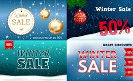 Insieme dell'insegna di vendita di inverno, stile realistico illustrazione vettoriale