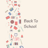 Insieme dell'insegna di vettore dei rifornimenti di scuola, di nuovo al concetto della scuola Immagine Stock