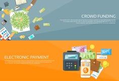 Insieme dell'insegna di web di credito dei soldi del telefono di opzioni di pagamento illustrazione vettoriale