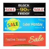 Insieme dell'insegna di web di sconto di vendita di promozione per Black Friday cyber Fotografia Stock