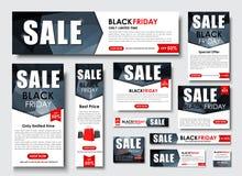 Insieme dell'insegna di web per le vendite di Black Friday, dimensioni standard Fotografie Stock