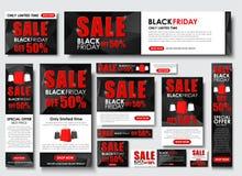 Insieme dell'insegna di web per le vendite di Black Friday, dimensioni standard Immagini Stock