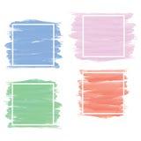 Insieme dell'insegna nello stile blu, rosa, verde, rosso della pittura della spazzola con briciolo Fotografia Stock