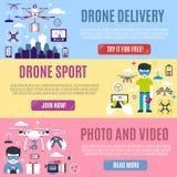 Insieme dell'insegna orizzontale per la consegna, lo sport, la foto ed il video aerei del fuco Fotografia Stock