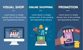 Insieme dell'insegna per acquisto online, la promozione ed il concetto visivo di affari del negozio Fotografia Stock Libera da Diritti