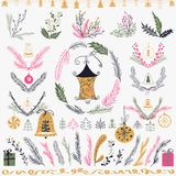 Insieme dell'insieme floreale disegnato a mano di Natale Progetti gli elementi, la decorazione, l'alloro, la corona e le feste Immagine Stock