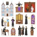 Insieme dell'interno della cattedrale di religione Immagini Stock Libere da Diritti