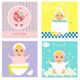 Insieme dell'invito della doccia di bambino, cartoline d'auguri, manifesto Illustrazioni di vettore Fotografie Stock Libere da Diritti
