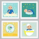 Insieme dell'invito della doccia di bambino, cartoline d'auguri, manifesto Illustrazioni di vettore Fotografia Stock