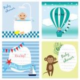 Insieme dell'invito della doccia di bambino, cartoline d'auguri, manifesto, modello Illustrazioni di vettore Fotografia Stock