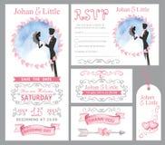 Insieme dell'invito di nozze Coppia la sposa, il griim, il rosa, decorazione di turbine Immagini Stock Libere da Diritti