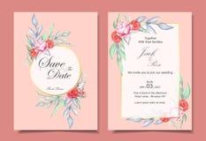 Insieme dell'invito di nozze dell'ornamento floreale dell'acquerello e del telaio dorato con il concetto di progetto elegante di  illustrazione vettoriale