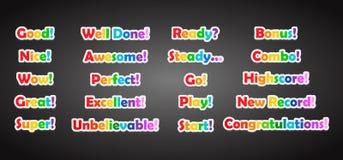 Insieme dell'iscrizione del testo del gioco nello stile piano del fumetto Immagini Stock