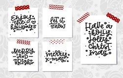 Insieme dell'iscrizione della mano di natale Natale allegro Allegro e luminoso Abbia Holly Jolly Christmas Lasciate esso nevicare Fotografie Stock Libere da Diritti