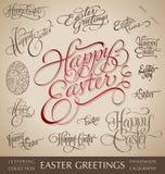 Insieme dell'iscrizione della mano di Pasqua Fotografia Stock