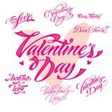 Insieme dell'iscrizione di giorno di biglietti di S. Valentino Fotografie Stock Libere da Diritti