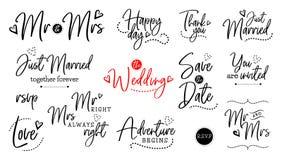 Insieme dell'iscrizione di nozze royalty illustrazione gratis
