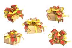 Insieme dell'isolato del contenitore di regalo su bianco Immagine Stock Libera da Diritti