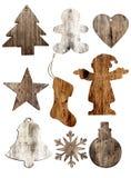 Insieme dell'isolato di legno delle decorazioni di natale su bianco, Fotografia Stock