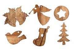 Insieme dell'isolato di legno delle decorazioni di natale su bianco, Immagini Stock Libere da Diritti