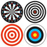 Insieme dell'obiettivo e del Dartboard Immagine Stock
