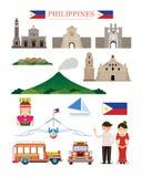 Insieme dell'oggetto della costruzione di architettura dei punti di riferimento di Filippine Immagini Stock Libere da Diritti