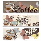 Insieme dell'opuscolo del caffè per progettazione Fotografia Stock