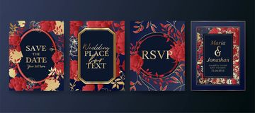 Insieme dell'opuscolo elegante, carta, fondo, copertura, invito di nozze Disposizioni floreali Salvo la data illustrazione vettoriale