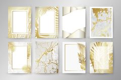 Insieme dell'opuscolo elegante, carta, fondo, copertura Struttura di marmo nera e dorata Palma, foglie esotiche royalty illustrazione gratis