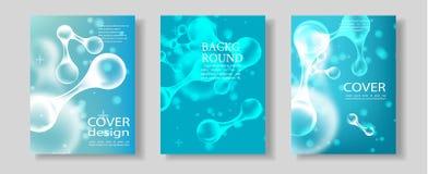 Insieme dell'opuscolo, modelli del manifesto nello stile della molecola del DNA royalty illustrazione gratis