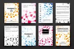 Insieme dell'opuscolo, modelli di progettazione del manifesto nello stile della molecola del DNA royalty illustrazione gratis