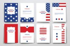 Insieme dell'opuscolo, modelli di progettazione del manifesto nello stile di presidenti Day illustrazione vettoriale