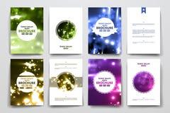Insieme dell'opuscolo, modelli di progettazione del manifesto in neon illustrazione di stock